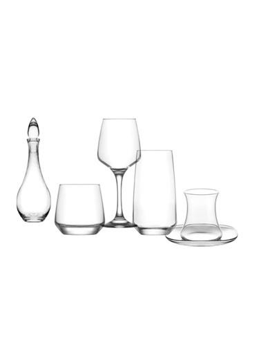 Lav Lal Çeyiz Seti 31 Prç. Su Bardak - Bardağı - Meşrubat Bardağı Renkli